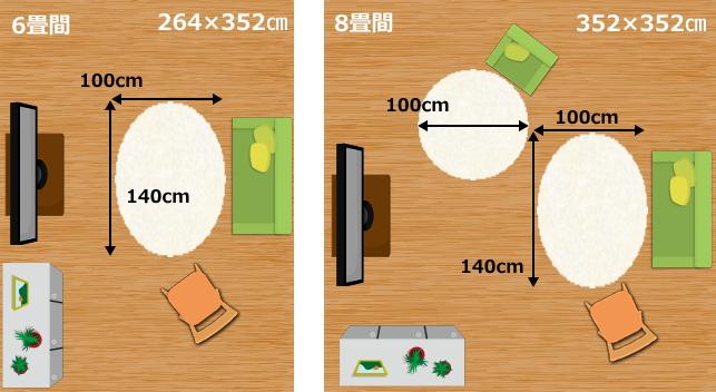 100×140楕円ラグ